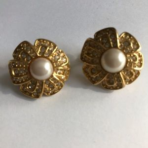 Vintage 80s Pearl Clear Stone Gold Clip Earrings